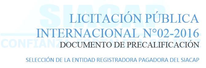 Licitación Pública Internacional N°02-2016